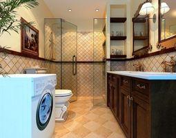 3D The family fashion bath toilet 1807