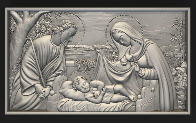 D printable model jesus birth with mary and joseph bas