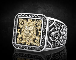 Stylish ring with patterns and lion 257 3D printable model