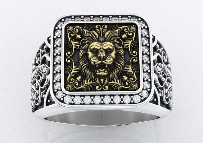 stylish ring with patterns and lion 257 3d model stl 3dm 1