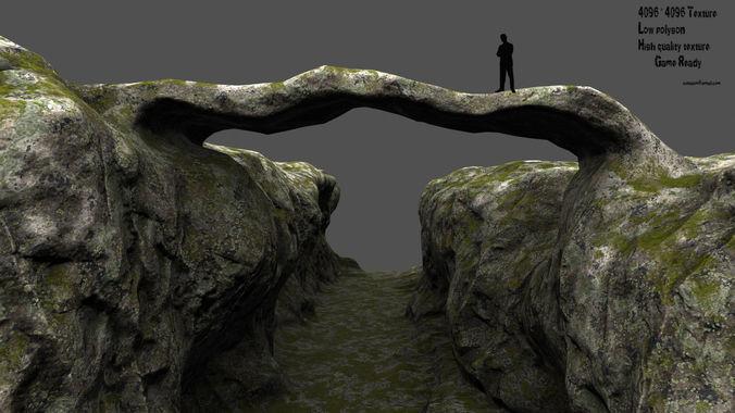 canyon bridge 3d model low-poly obj mtl fbx blend 1