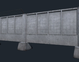 Big concrete fence with simple relief 3D model