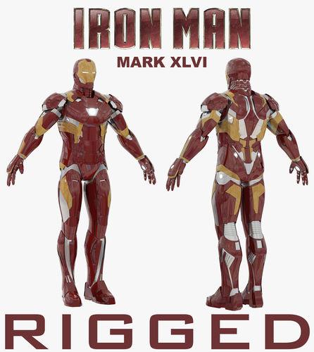 iron man mark xlvi rigged 3d model rigged max obj mtl fbx 1