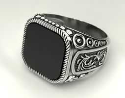 3D print model Ring with onyx