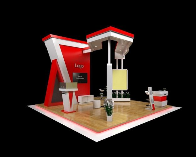 Exhibition Booth Obj : Booth exhibition futuristic with fabrication d model