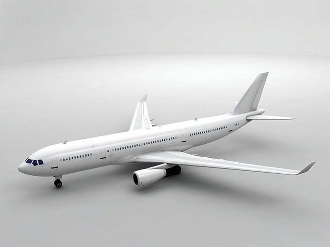 airbus a330-200 airliner - generic white 3d model low-poly max obj mtl 3ds dxf stl wrl wrz 1