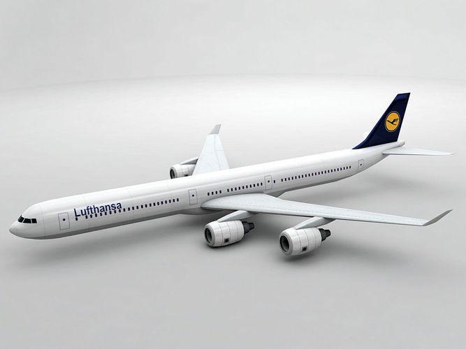 airbus a340-600 - lufthansa 3d model low-poly max obj 3ds dxf stl wrl wrz 1