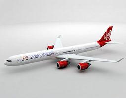3D model Airbus A340-600 - Virgin Atlantic