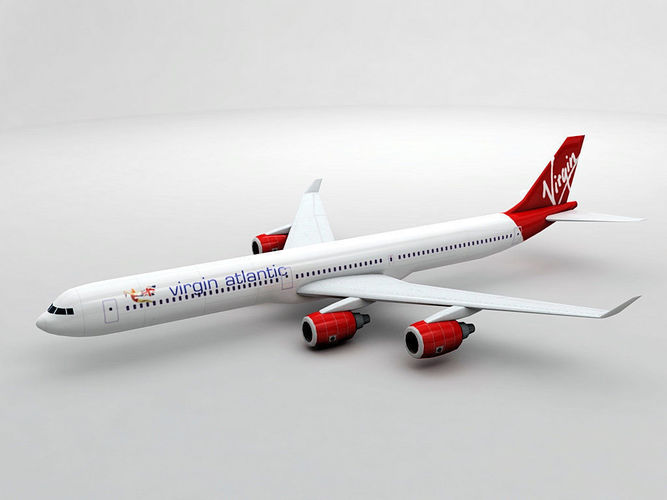 airbus a340-600 - virgin atlantic 3d model low-poly max obj 3ds dxf stl wrl wrz 1