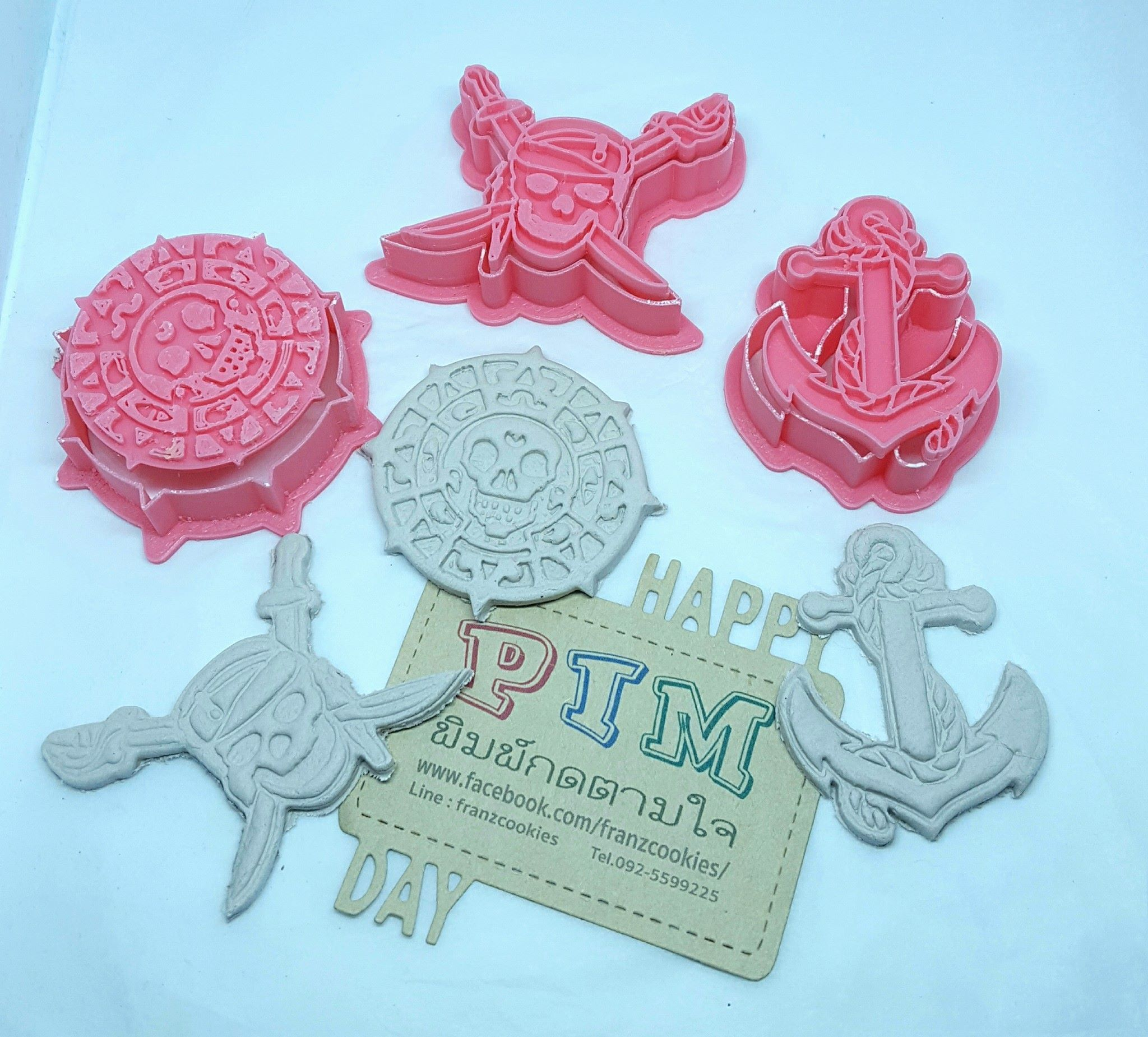 Pirates of the Caribbean set cookie cutter with stamp