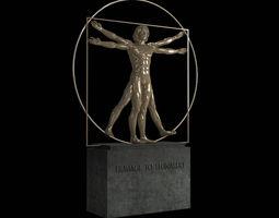vitruvian man by  leonardo da vinci 3d model max obj fbx