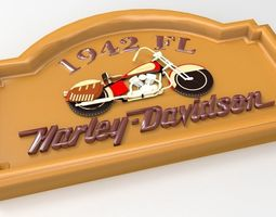 1942 FL Harley Davidson Sign 3D print model