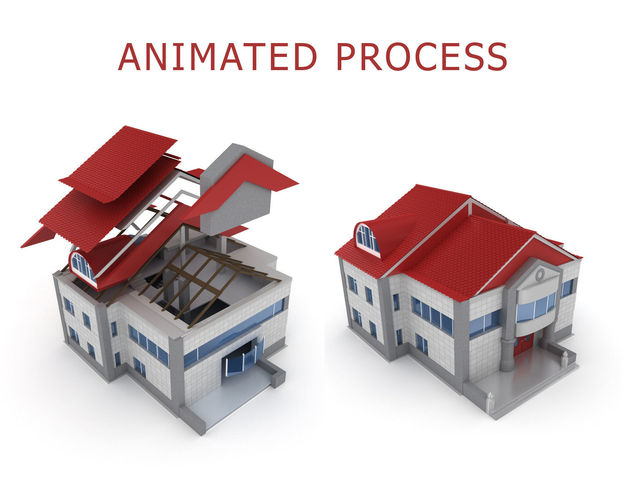 animated process of house building  3d model animated max obj fbx mtl 1