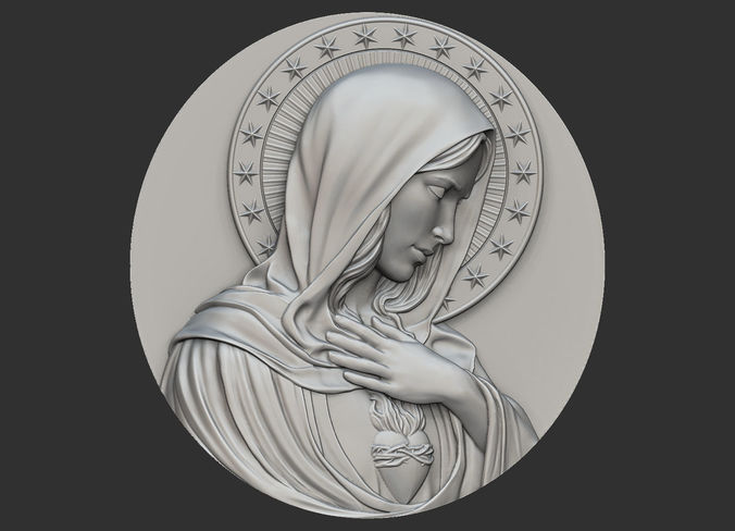 virgin mary medallion no 2 3d model obj mtl stl 1