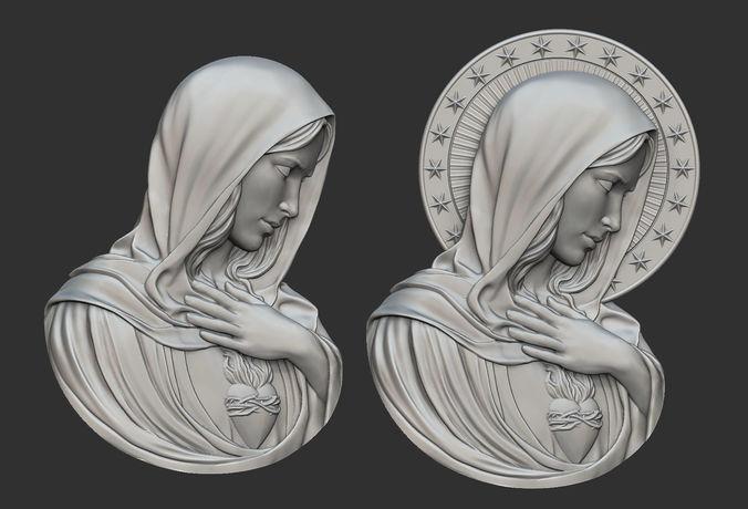 Virgin mary with sacred heart pendant 3d printable model virgin mary with sacred heart pendant 3d print model aloadofball Images