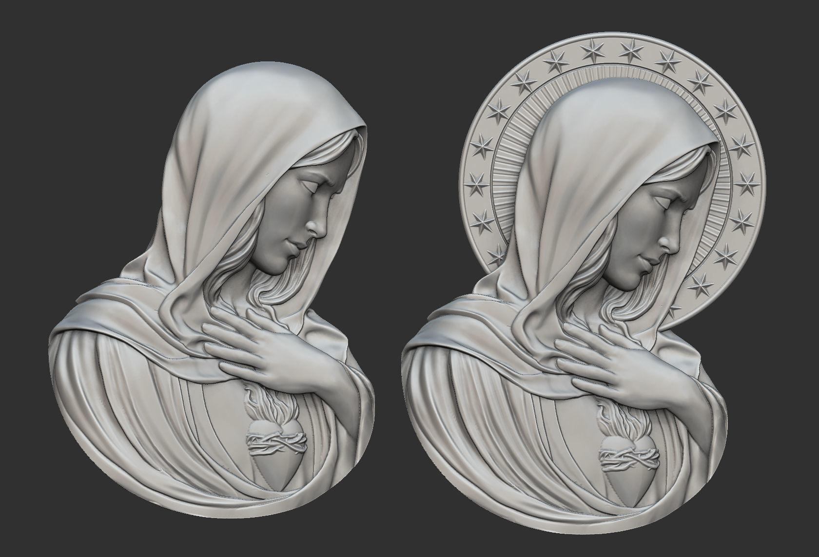 Virgin mary with sacred heart pendant 3d printable model virgin mary with sacred heart pendant 3d model obj stl 1 aloadofball Images