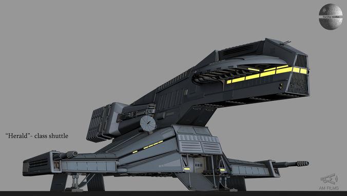 herald class shuttle 3d model animated max fbx 1