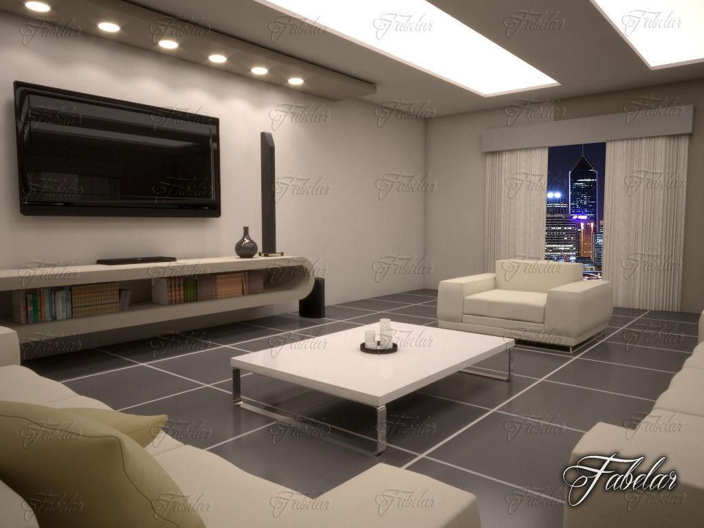 Living room 10 night 3d model max obj fbx c4d dae for Living room night