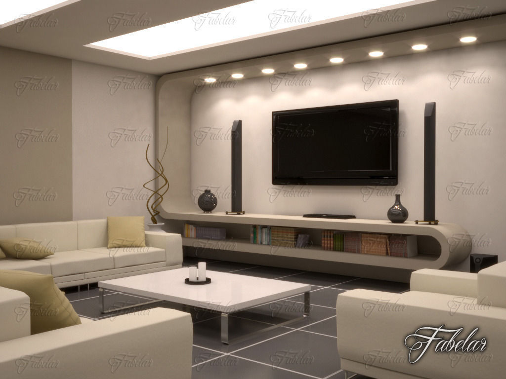 Living room 10 night 3d model max obj fbx c4d dae for Living room 3d model