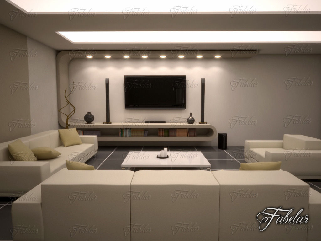 Living Room Night living room 10 night 3d | cgtrader