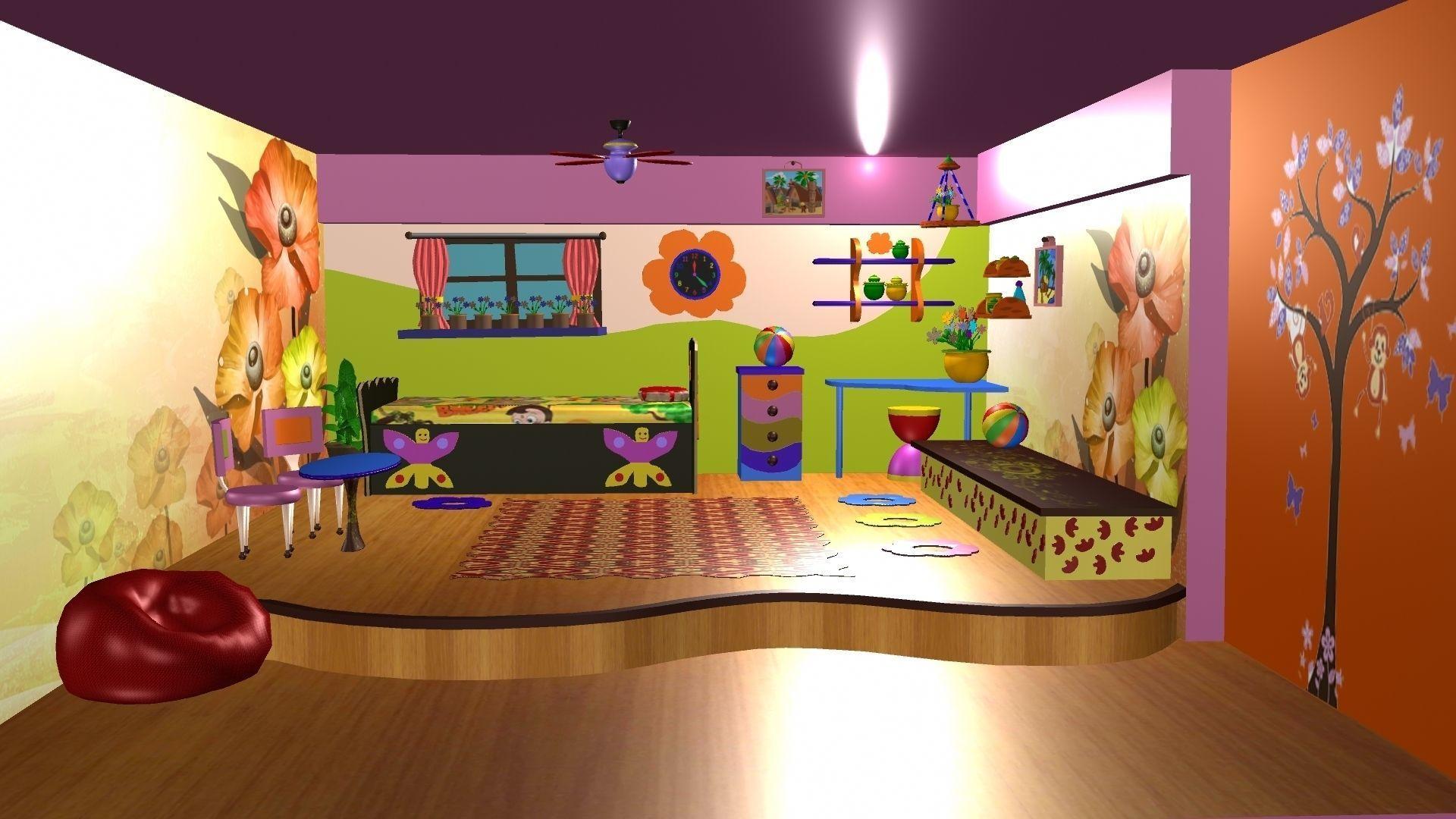 3d Cartoon Background Design 3d Model
