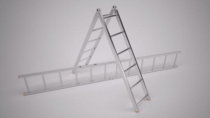 folding ladder 3d model max 1