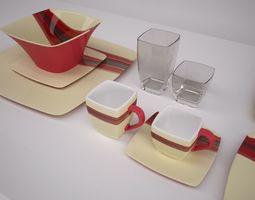 contemporary dinnerware 3d model