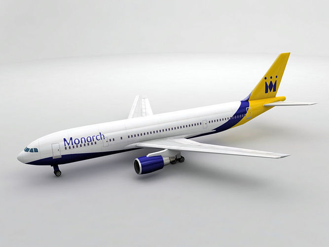 airbus a300-600 airliner - monarch 3d model max obj 3ds dxf stl wrl wrz 1