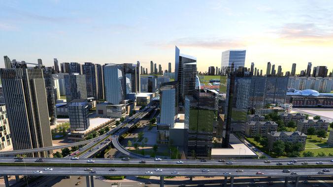 city scene 02 3d model animated max tga 1