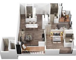 kitchen 3d plan interior