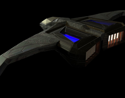 3D asset Low poly scifi super sonic spacecraft
