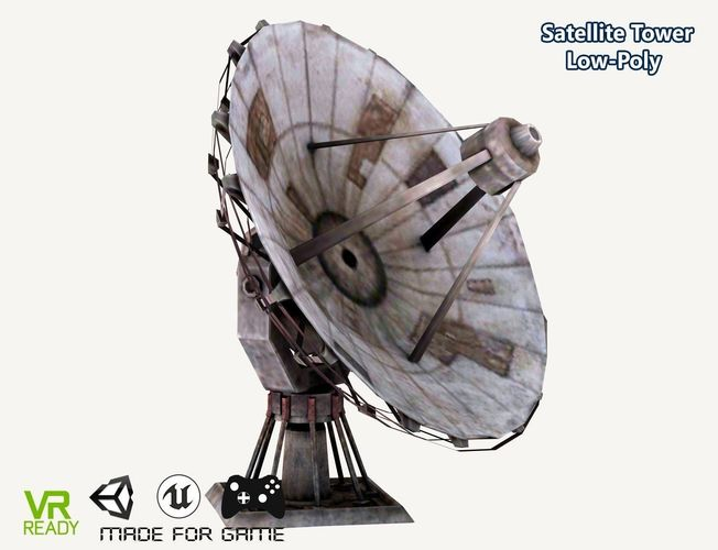satellite dish tower low poly 3d model max obj mtl 3ds fbx 1
