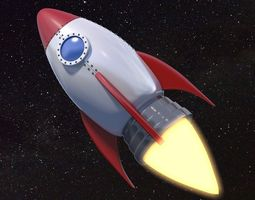 3D model Cartoon Rocket Ship V1
