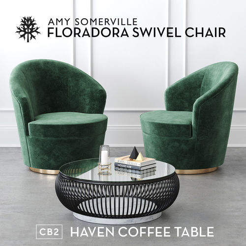 Floradora Swivel Chair With CB Haven Coffee Table D - Cb2 haven coffee table