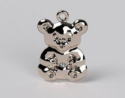 3d printable model bear pendat