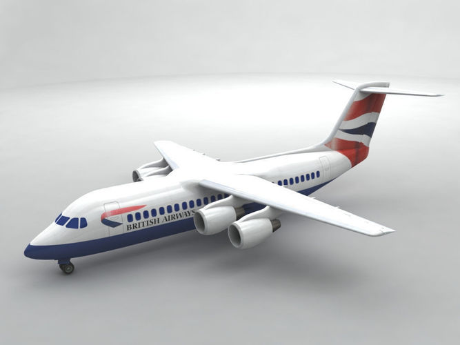 avro rj-100 - british airways 3d model max obj mtl 3ds dxf stl wrl wrz 1