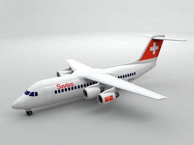 avro rj-100 - swiss air 3d model max obj mtl 3ds dxf stl wrl wrz 1
