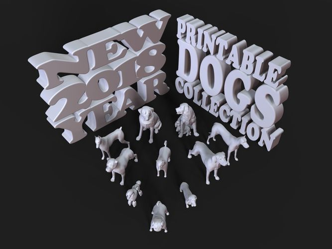 printable dogs collection new 2018 year 3d model stl 1
