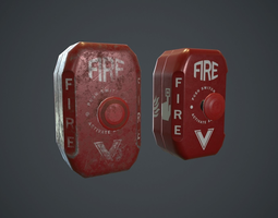 Metal Fire Alarm Button PBR Game Ready 3D model