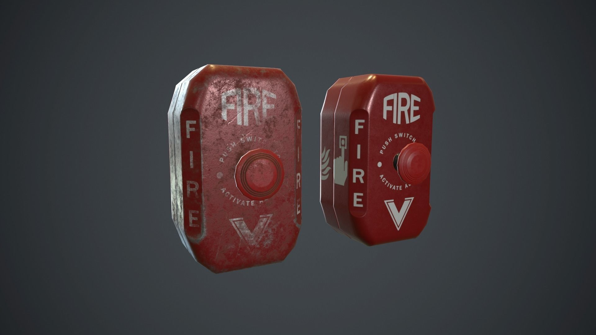 Metal Fire Alarm Button PBR Game Ready