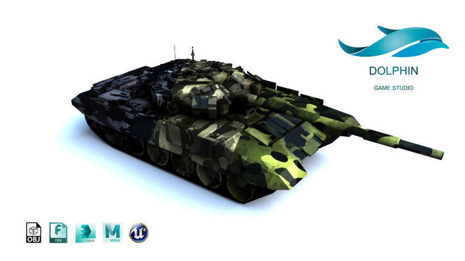 t-90 tank 3d model low-poly max obj 3ds fbx ma mb mtl 1