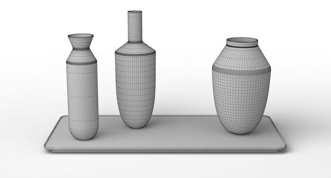 Muuto Balance 3 Vases Set 3d Cgtrader