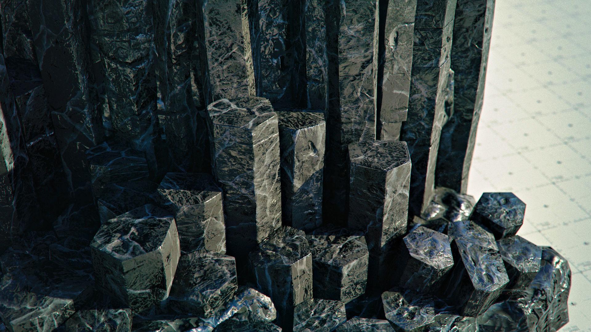 Basalt Columns and Rocks Kit PBR - Obsidian