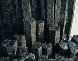 3D asset Basalt Columns and Rocks Kit PBR - Obsidian