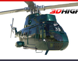 Military Helicopter Puma AS330 3D model