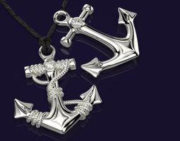 Anchor Pendant 3D printable model gem