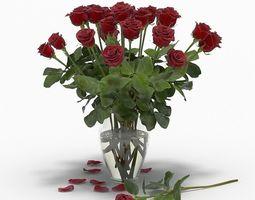 3D model plant Red roses vase
