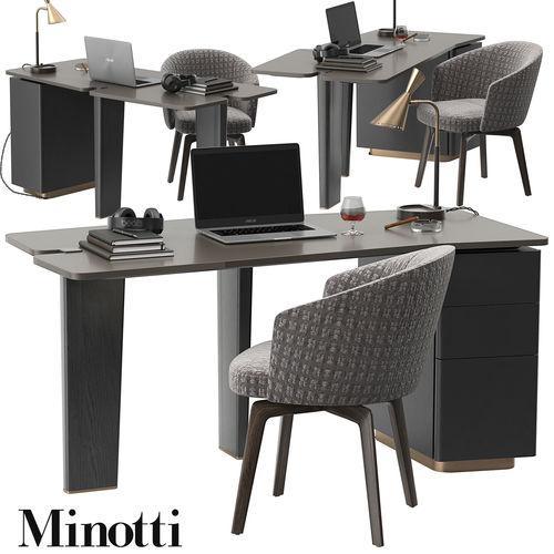 minotti jacob desk set 3d model max obj mtl 1