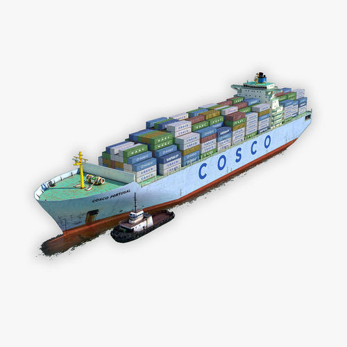 cargo ship cosco and tugboat 3d model max fbx c4d dae 1