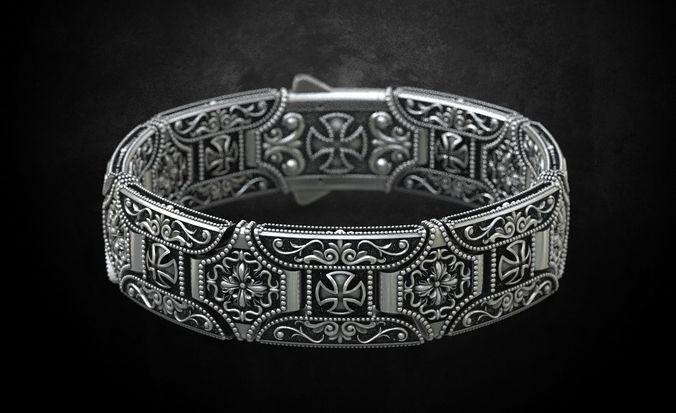 stylish bracelet in silver with a cross 265 3d model stl 3dm 1